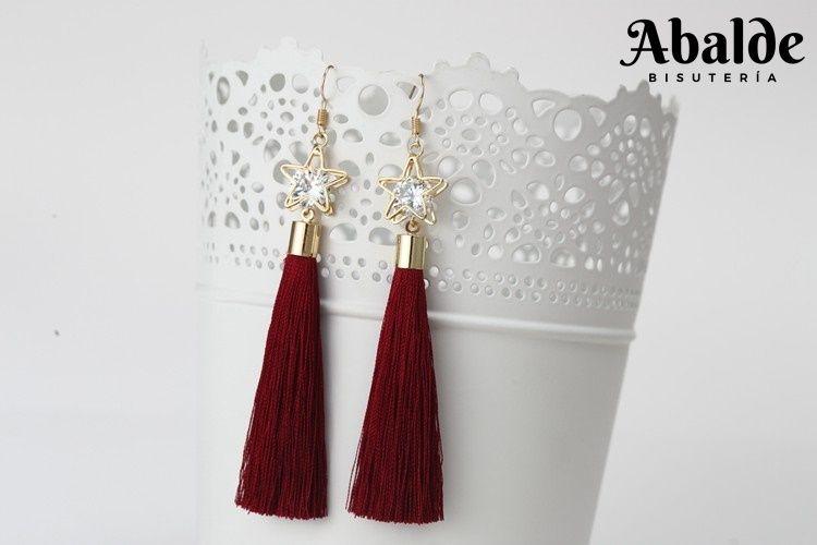 48fdb3cd1196 Preciosos Pendientes Largos Mujer Con Borla Estrella Rojo Blanco ...