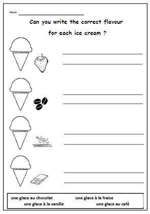 french printable ice cream flavours with writing exercise children learning food worksheet. Black Bedroom Furniture Sets. Home Design Ideas