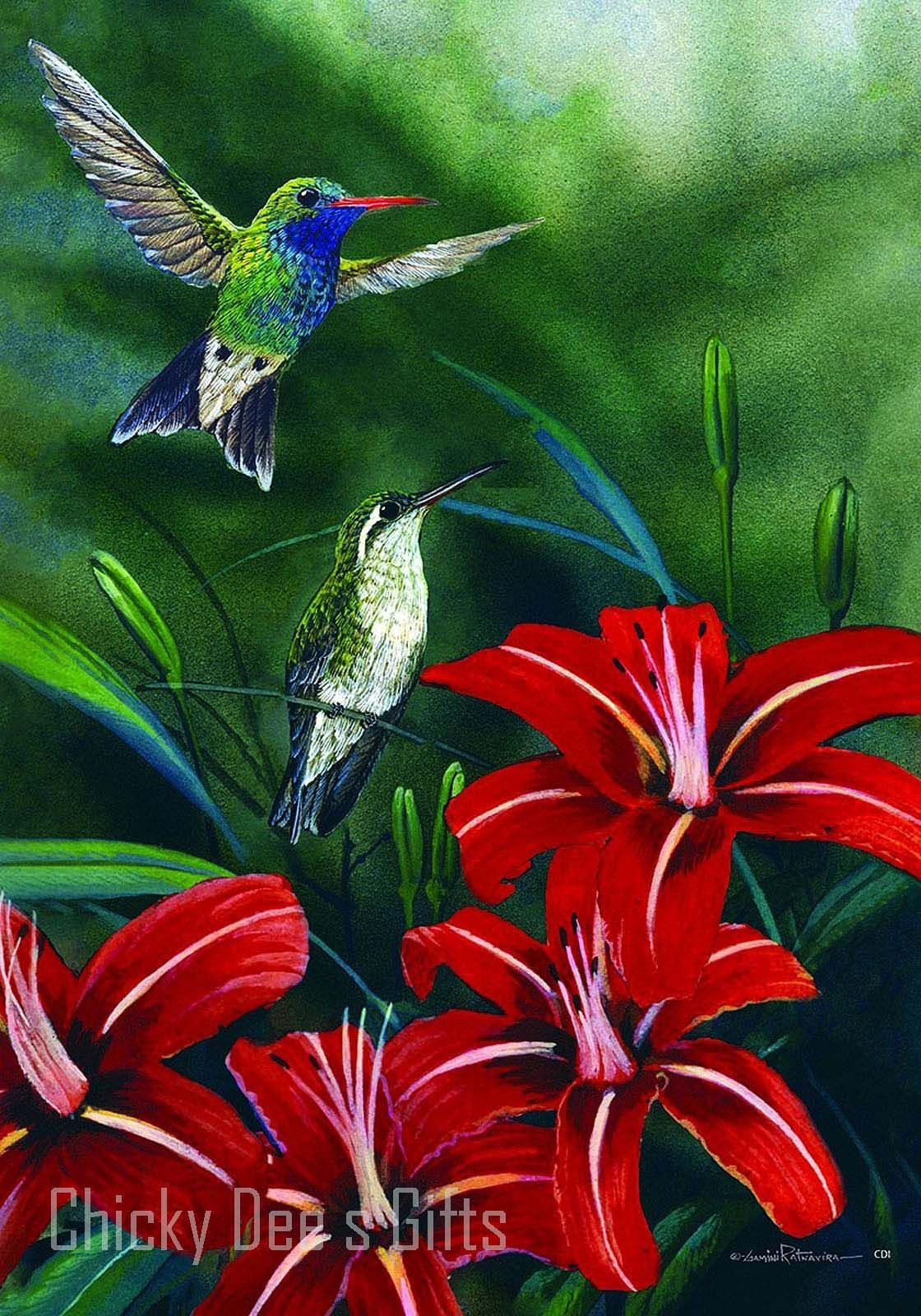 Custom Décor Garden Flag Hummingbird Pair flowers humming bird ...