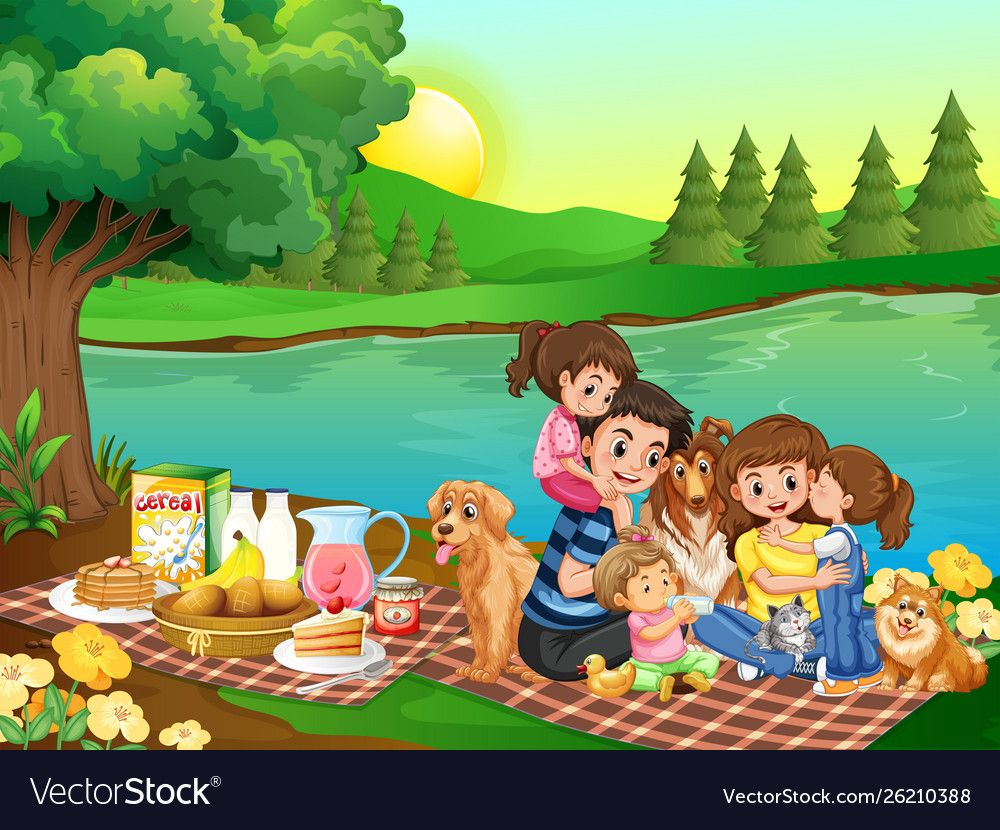 A family picnic in park vector image on VectorStock in ...