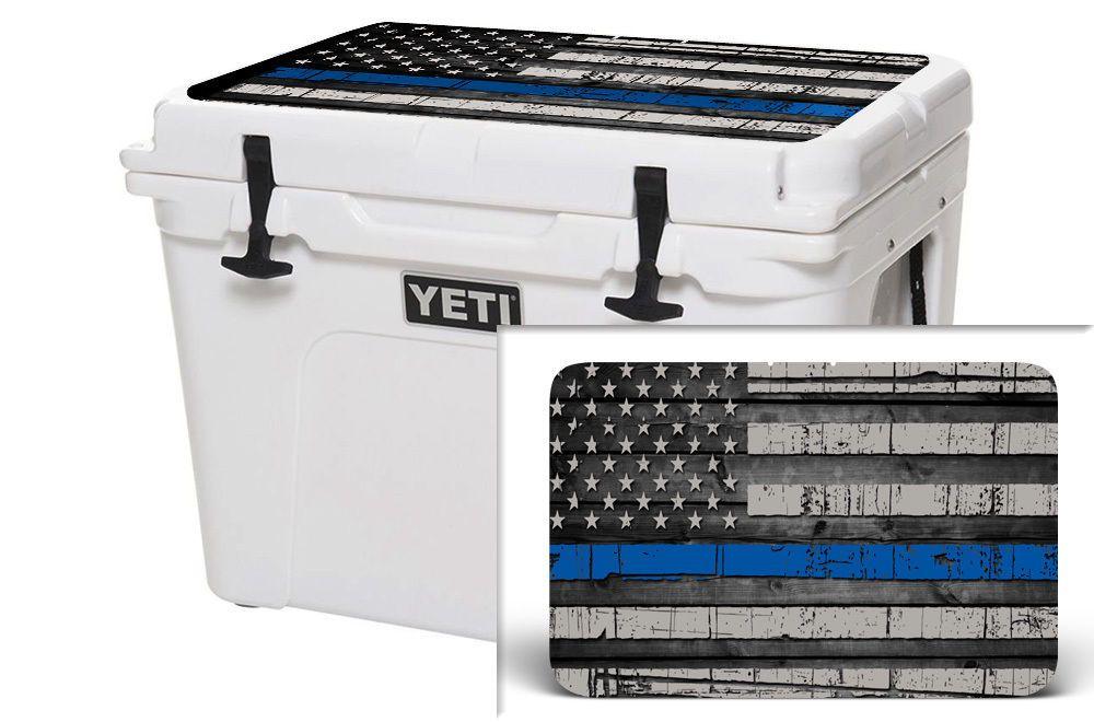 24mil Lid Skin Wrap Sticker For Yeti Tundra 110qt Cooler Usa Blue Line Wood Yeti Roadie Yeti Tundra Cooler