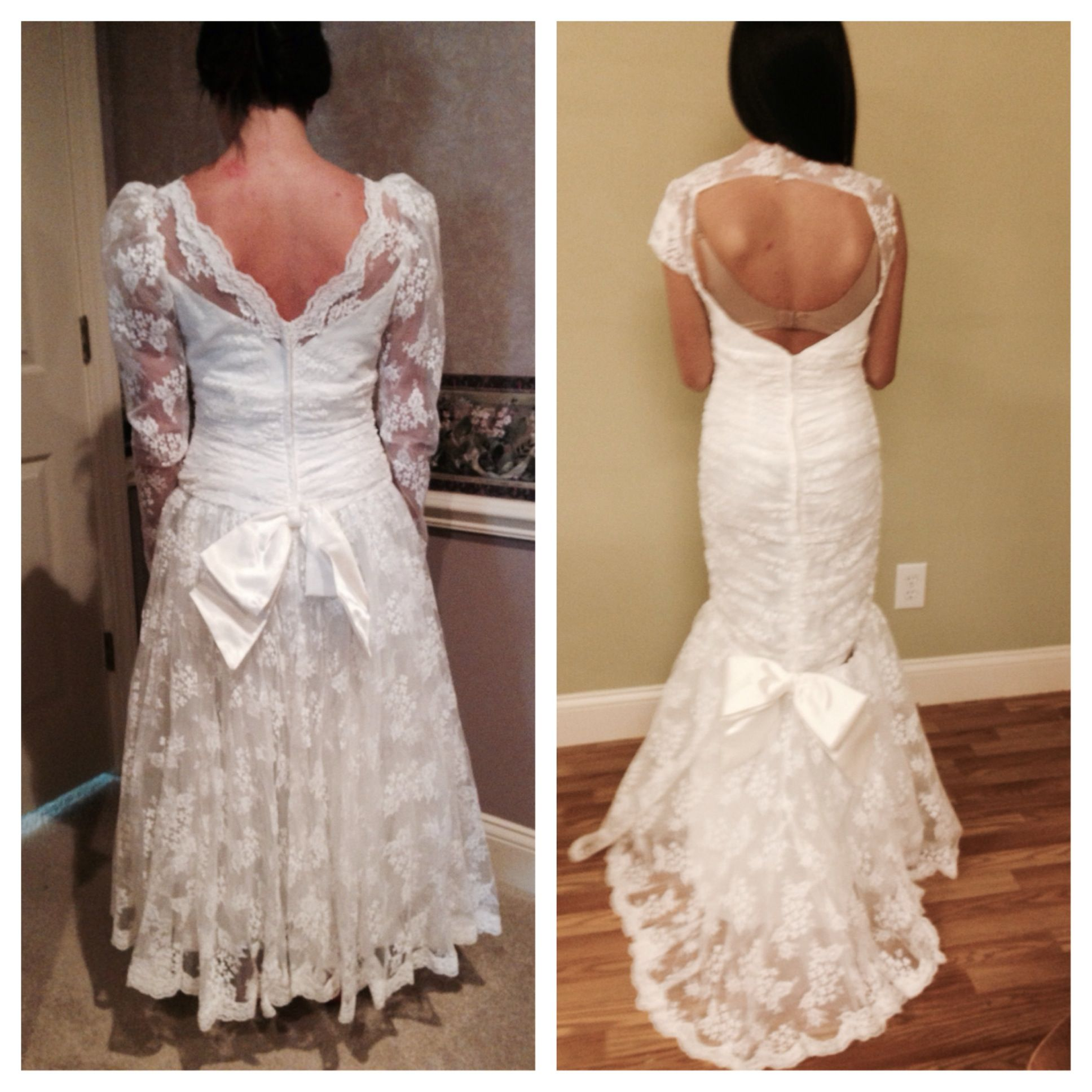 back of old dress and new dress at first fitting wedding dress