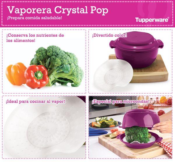 Vaporera crystal pop prepara comida saludable for Cocinar vapor microondas