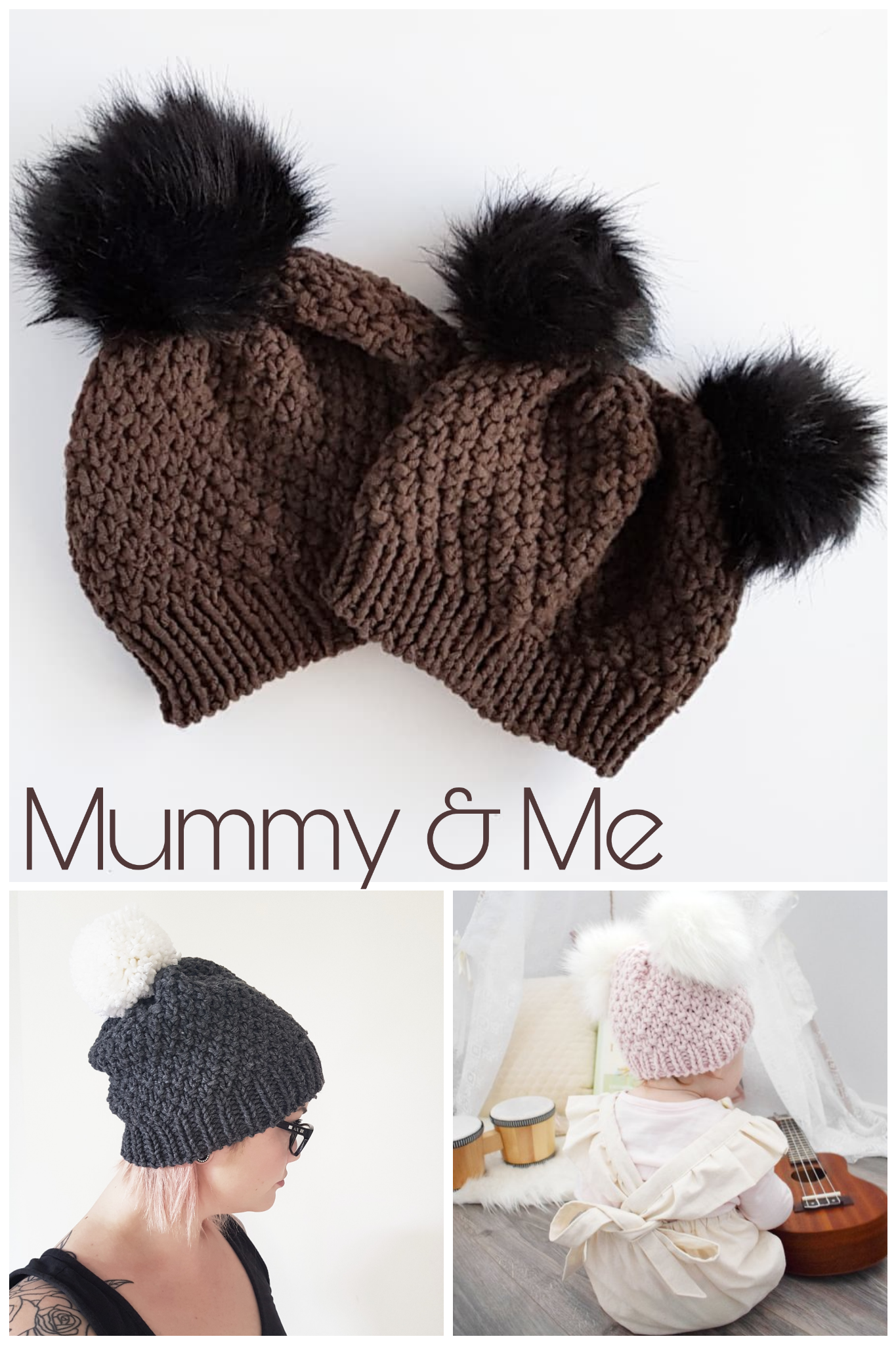 9a1f44bfc4bc43 PATTERN ONLY - Mummy & Me Chunky Knit Stephanie beanie. Newborn to ...
