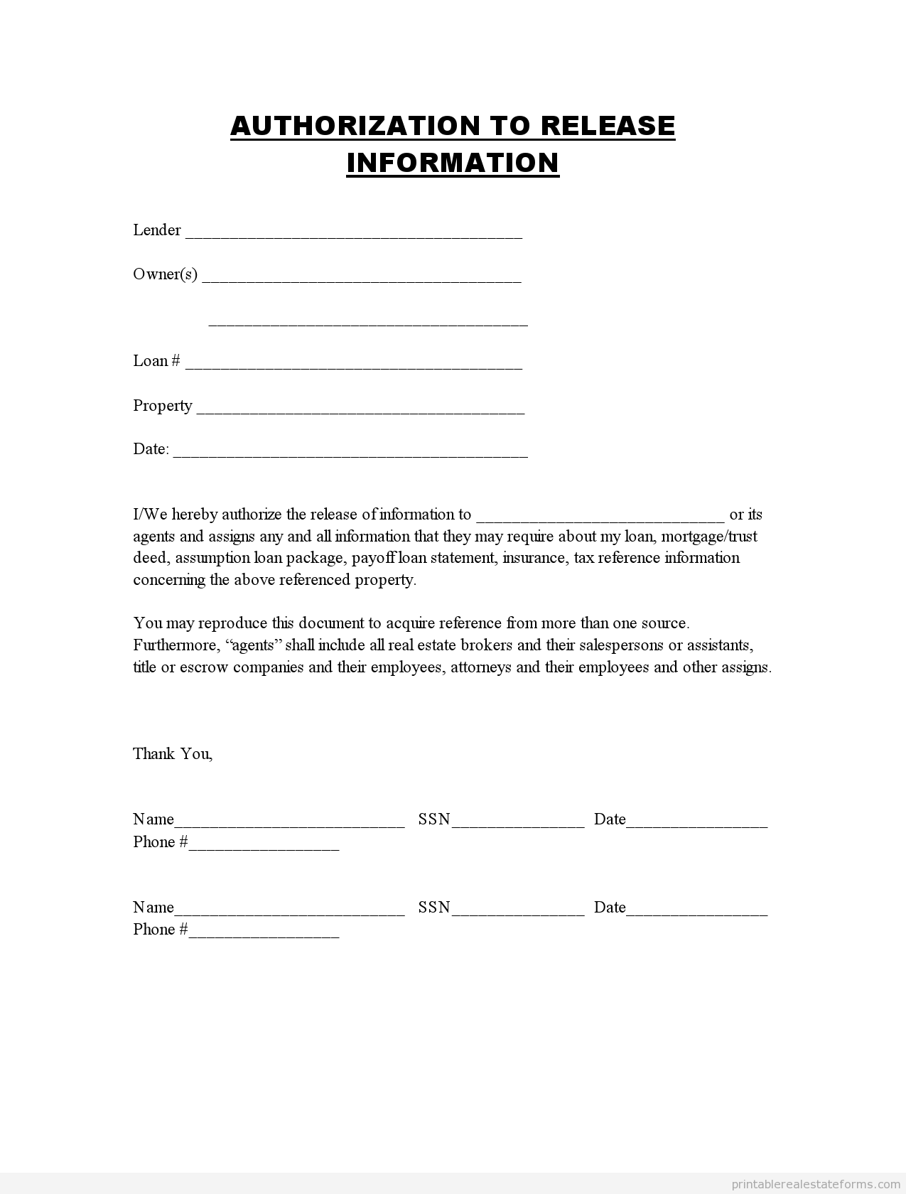 Printable authorization to release information template 2015 – Release of Mortgage Form