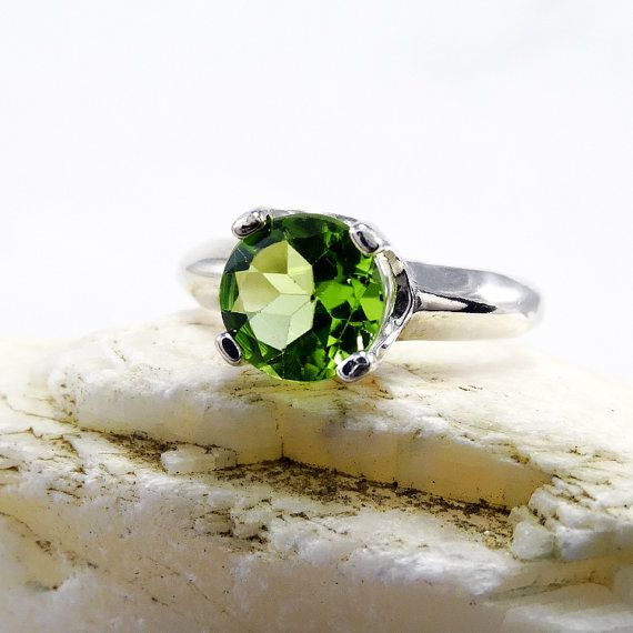 Good Gemstones Round Faceted Peridot Ring Handmade Jewelry Great Selling Shops Gift Birthstone Ring Solid Silver Green Peridot Good Gemstones Ring