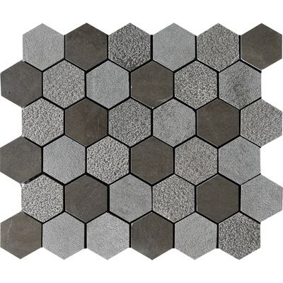 Bosphorus Textured Hexagon Limestone Mosaics 10 3/8x12