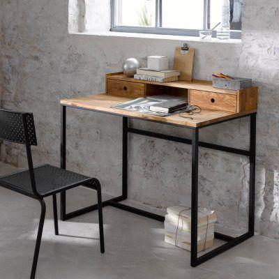 Bureau métal et chêne, petite rehausse, Hiba Bureau metal, Noyer
