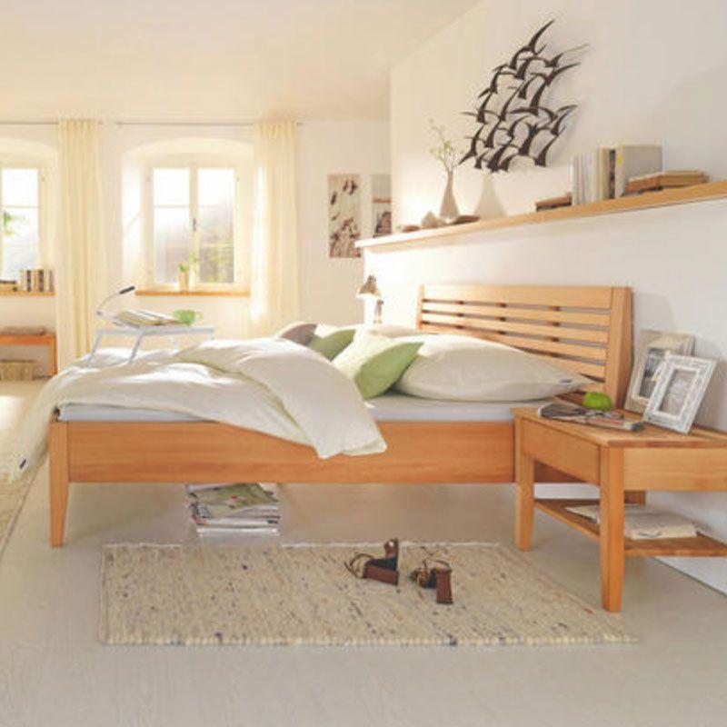 Doppelbett Holzgestell Holzbett Buchenfarebn Bett Haus Deko Zimmer