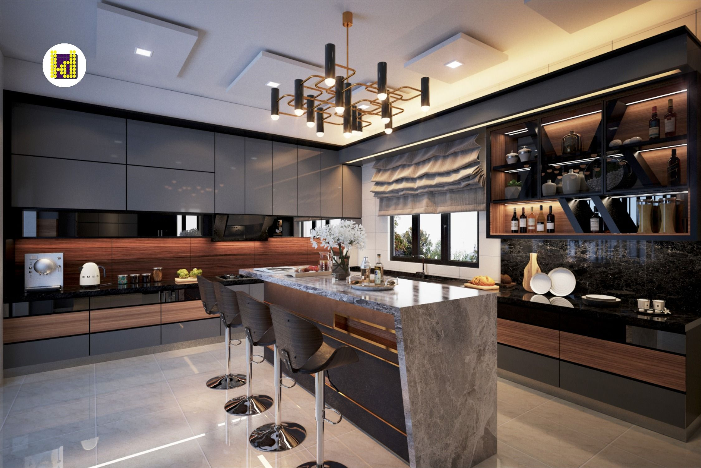 Modern Classical Kitchen Design In Luxury Malaysian Mansion By Latitude Design Classical Kitchen Kitchen Design Contemporary Marble Kitchens