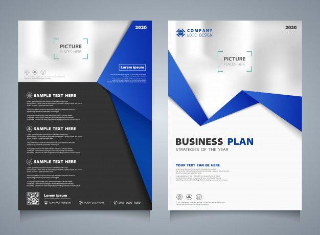 Modern Business Brochure Template In Blue Geometrical Design.
