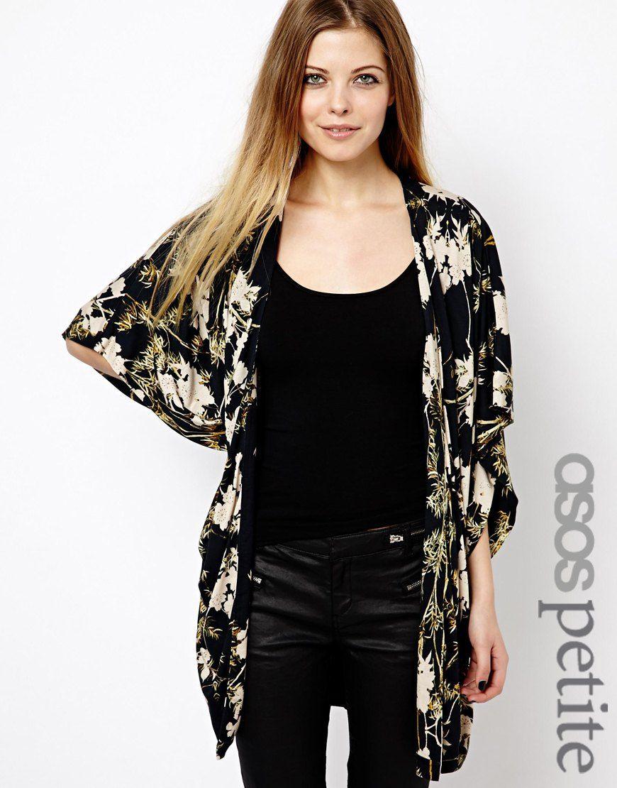 $75, Black and White Floral Kimono: Asos Petite Kimono In Dark ...