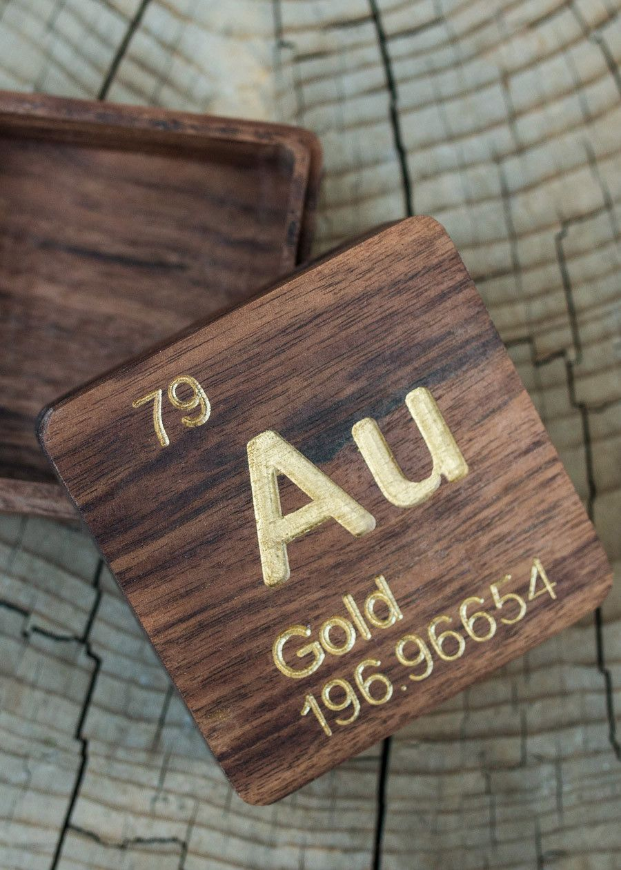 Gold au periodic table atomic element carved wooden box walnut gold au periodic table atomic element carved wooden box walnut hardwood urtaz Images