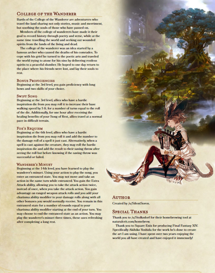 Paladin and Bard Subclass 5e FFXIV Homebrew in 2019 | D&D Homebrew