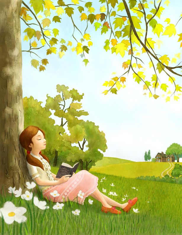 Girl leaning on tree reading a book art