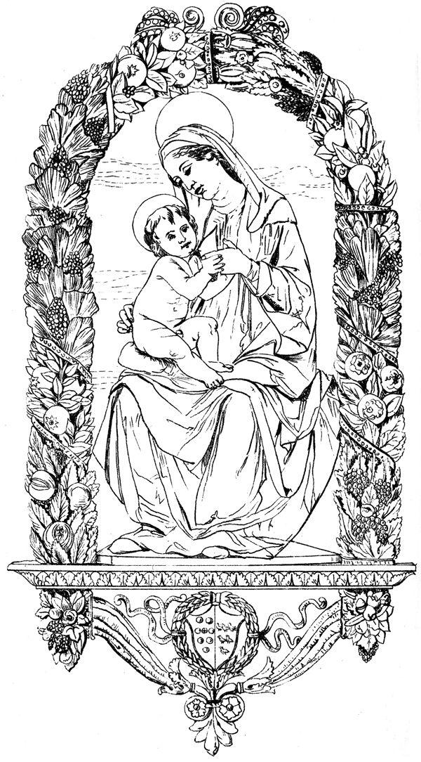 Christian Symbols Virgin And Child Medieval Vintage