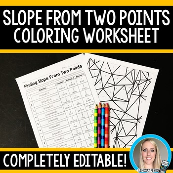 Slope From Two Points Coloring Worksheet Editable Algebraic