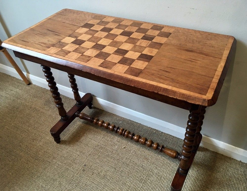 Antique Victorian Mahogany Hall Table with Inlaid Chess Board Top