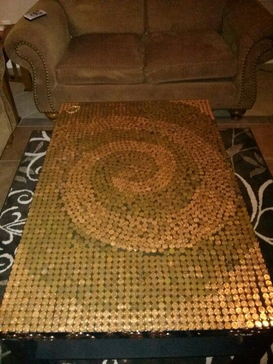 Stone tile coffee table painted with metallic copper for Copper tile pennies