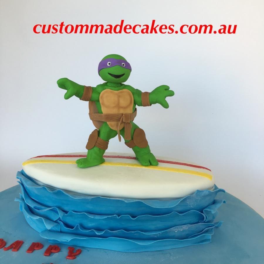 Chocolate Surfboard Cake With Handmade Ninja Turtle Design By The Customer It S A Combination Of Being Cool Funny Ninja Turtle Cake Chocolate Turtles Turtle