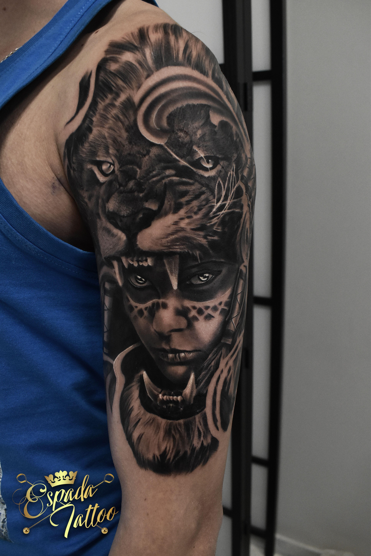 #bydgoszcz #bydgoszczanie #studio #tatuażu #studiotatuażubydgoszcz #realisticink #realizm #realistycznytatuaż #tattooartist #indian #indianink #lionandindiantattoo #liontattoo #tattoo #worldfamousink #setwfi Studio Tatuażu Espada #liontattoo #lionandwomantattoo