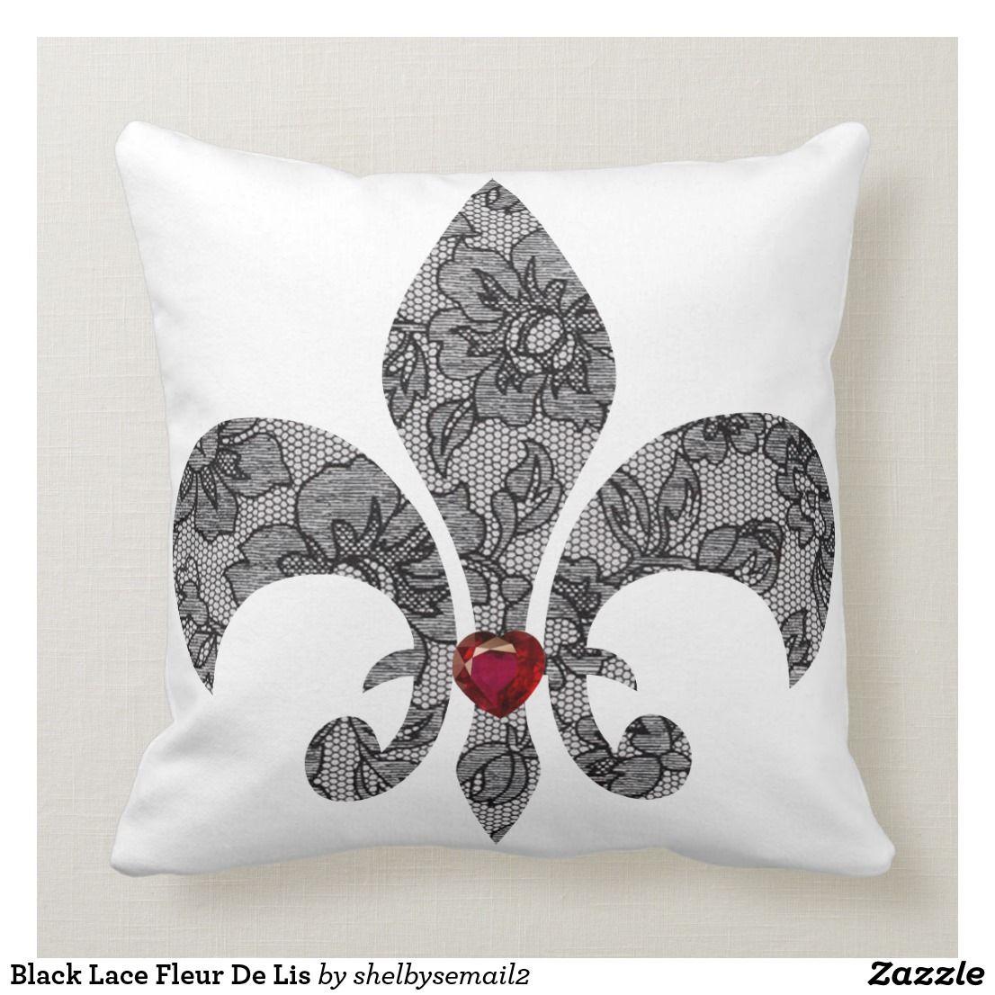 Black Lace 1 Fleur De Lis Throw Pillow
