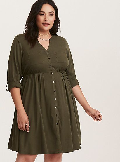 cf08ed24b2 Olive Green Challis Button Front DressOlive Green Challis Button Front Dress