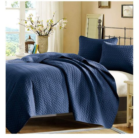 Add bed layers with quilts - Basketweave Cobalt Blue Quilt Set ...