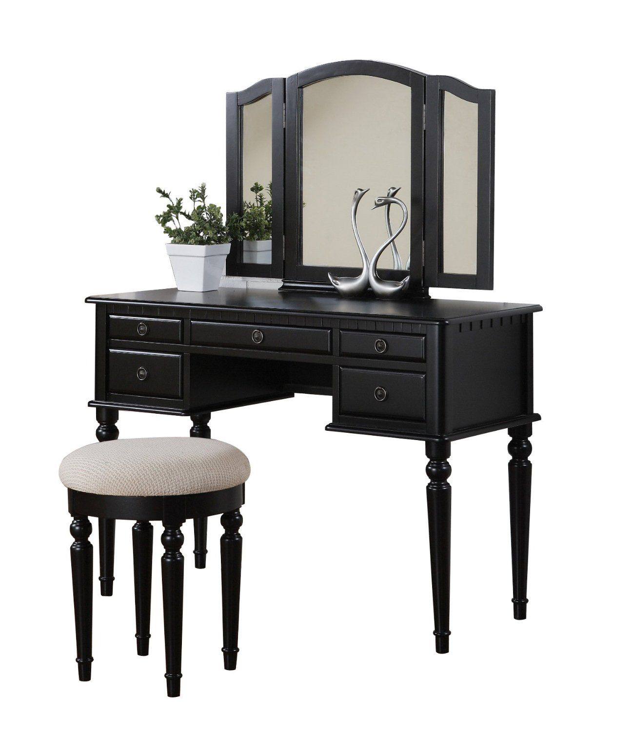 Amazon.com: Bobkona St. Croix Collection Vanity Set With Stool, Black: