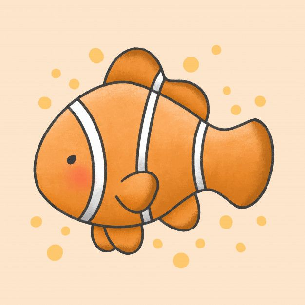 Cute Ocellaris Clownfish Cartoon Hand Drawn Style In 2020 Animal