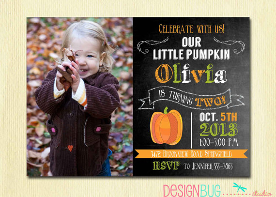 Little pumpkin chalkboard birthday invitation girl or boy for any little pumpkin chalkboard birthday invitation girl or boy for any age birthday fall autumn birthday party photo invite filmwisefo Images