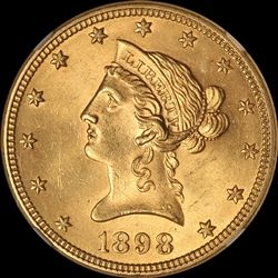 1898 $10 Gold Eagle Liberty Head CAC & NGC MS 63 from thehappycoin.com