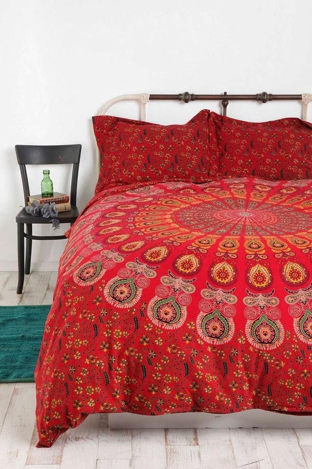 Shop Red Mandala Quilt Cover Bohemian Duvet Cover With 2 Pillows On Fair Prices Free Shipping World Wide In Us Duvet Covers Urban Outfitters Home Duvet Covers