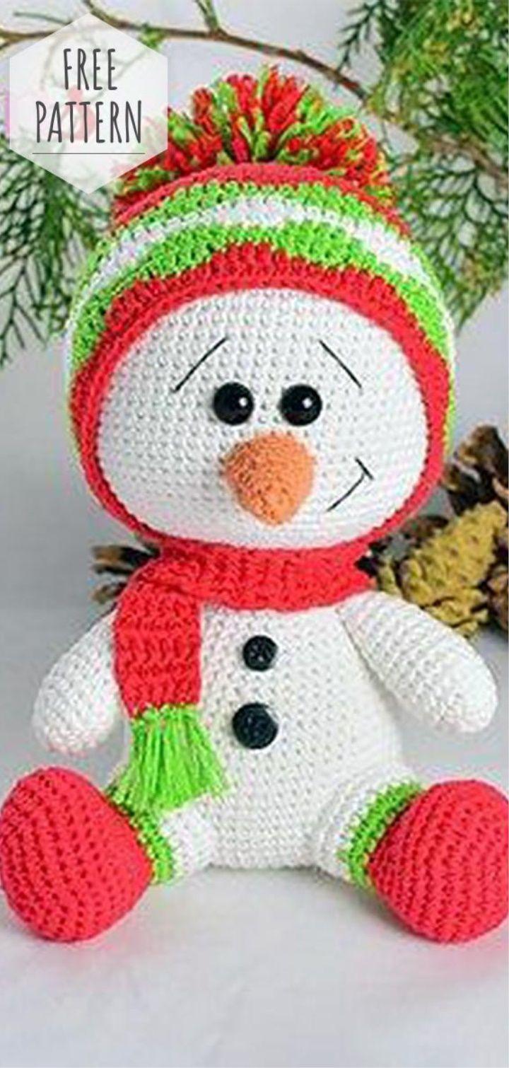 Free Pattern Amigurumi Snowman #amigurumi