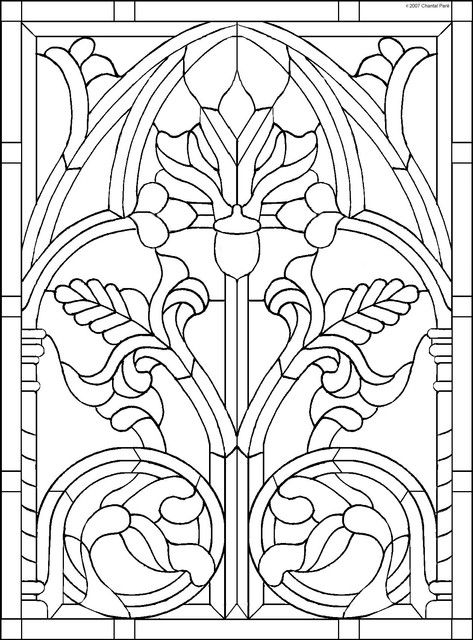Ornament Medieval Stained Glass Coloring Pages Art Nouveau Pattern