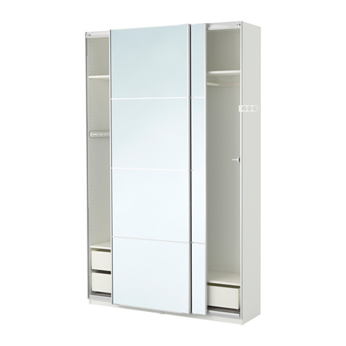Pax Wardrobe White Auli Mirror Glass 59x17 3 8x93 1 8 Con