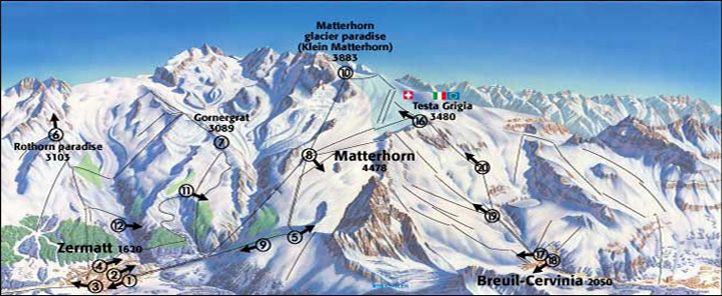Zermatt Ski Maps The Matterhorn Other Mountains Pinterest