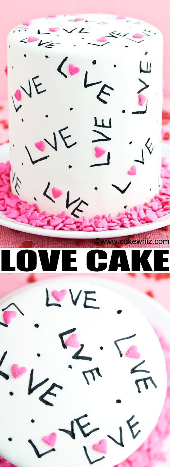 Use this cake decorating tutorial to make an easy LOVE CAKE with sprinkles and edible markers! This would be a great Valentine's day cake or Mother's Day cake. From cakewhiz.com #cakedecorating #cake #dessert #valentinesday #mothersday #fondant