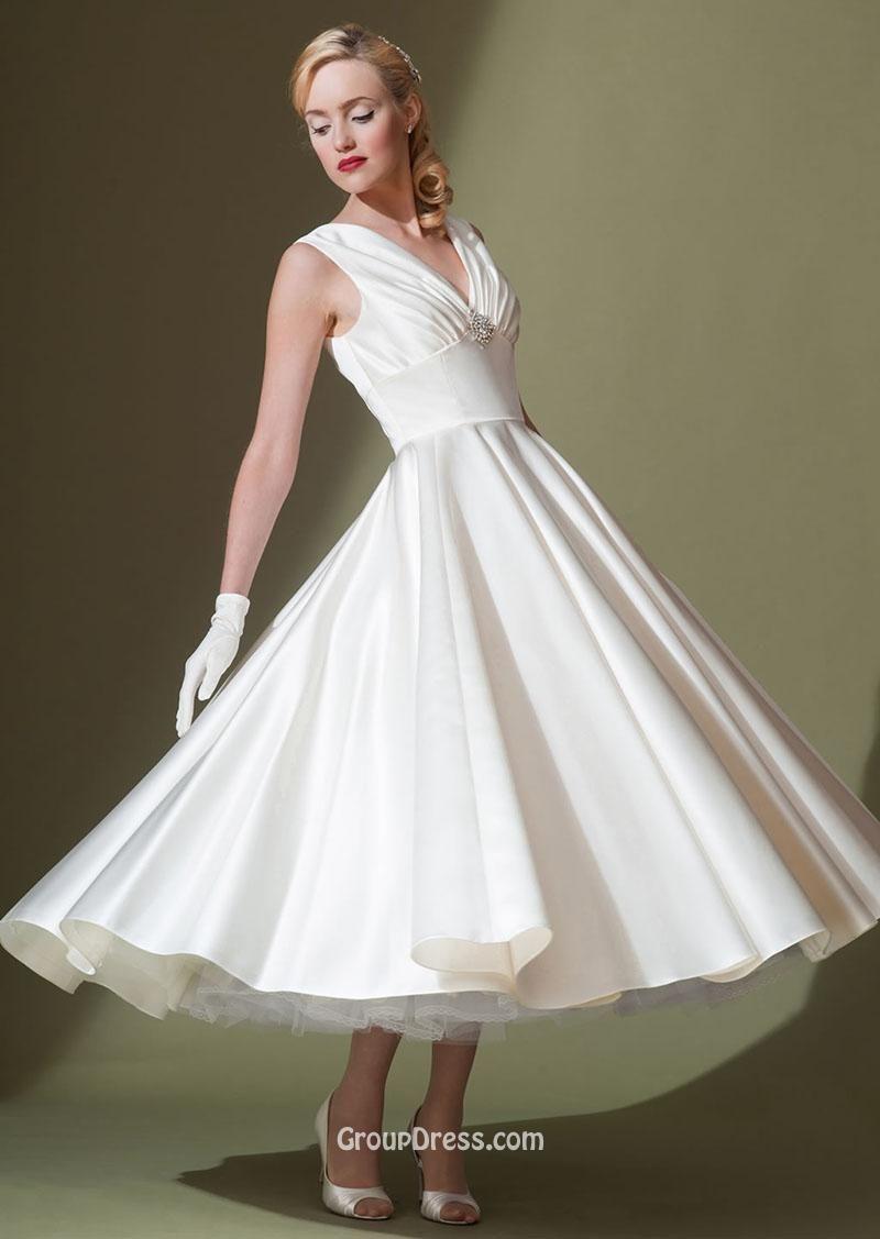 תוצאת תמונה עבור a line tea length satin wedding dresses ...