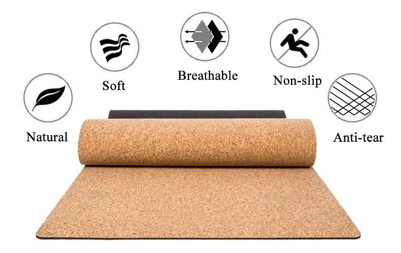 Black Cork Natural Rubber Yoga Mat | GeekyViews #corkyogamat