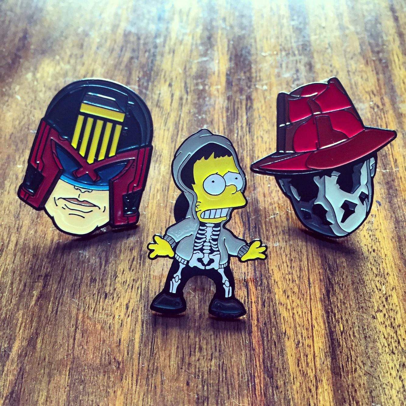 Dredd, Donnie Barto & Rorschach pins available at nofitstate.co