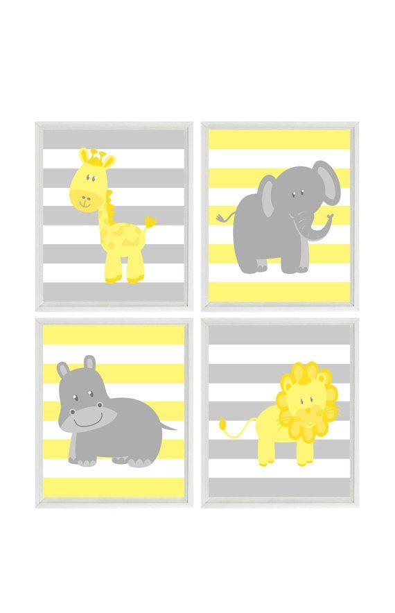 Nursery Wall Art, Elephant Giraffe Hippo Lion Safari Print, Yellow ...