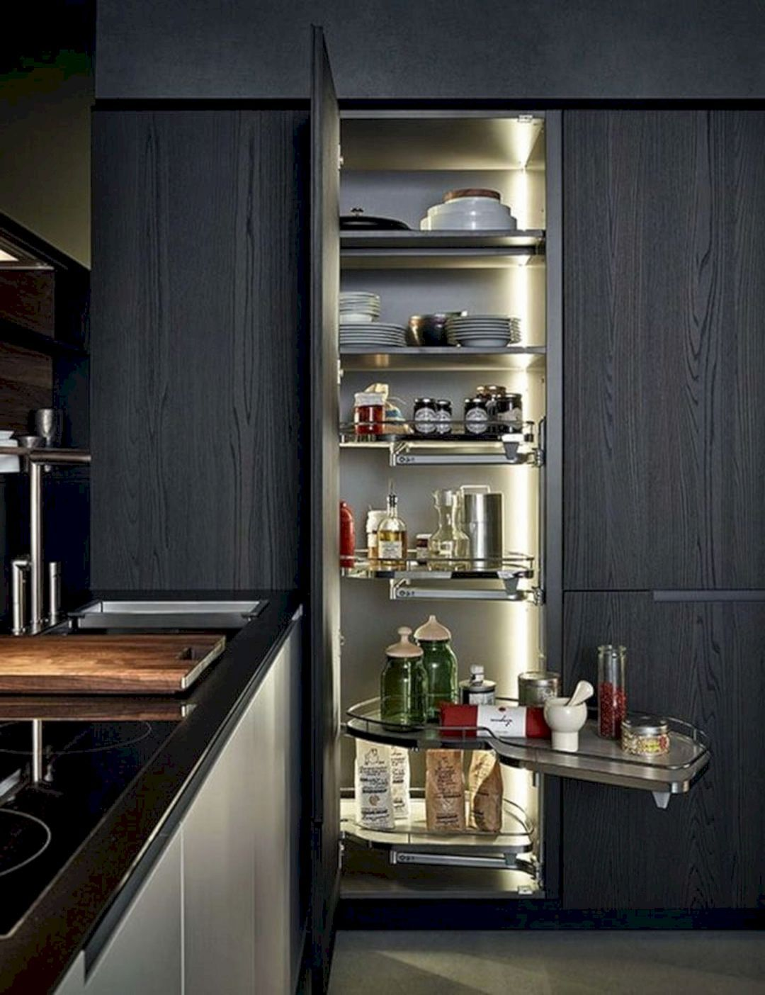 Top 10 Awesome Sliding Kitchen Cabinet Ideas For Best Organization Ideas Decor It S Contemporary Kitchen Modern Kitchen Pantry Modern Kitchen