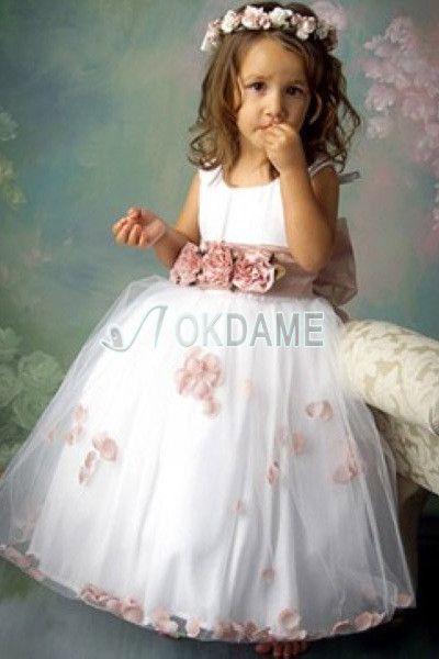 Organza A-Line Satin Blumenmädchenkleid mit Schmetterlingsknoten für ...