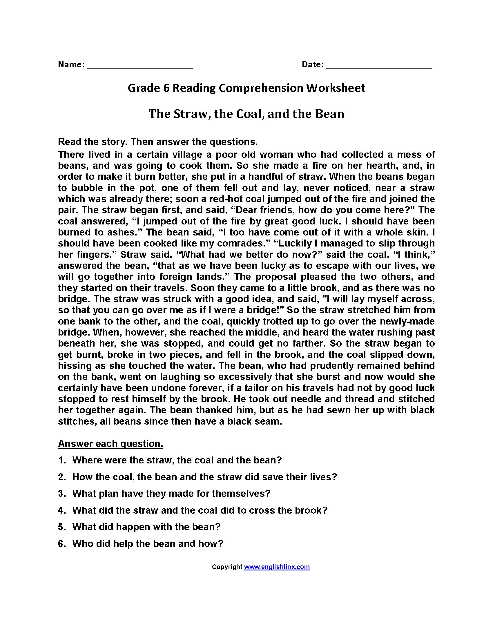 The Straw Coal and Bean\u003cbr\u003eSixth Grade Reading Worksheets   Reading comprehension  worksheets [ 2200 x 1700 Pixel ]