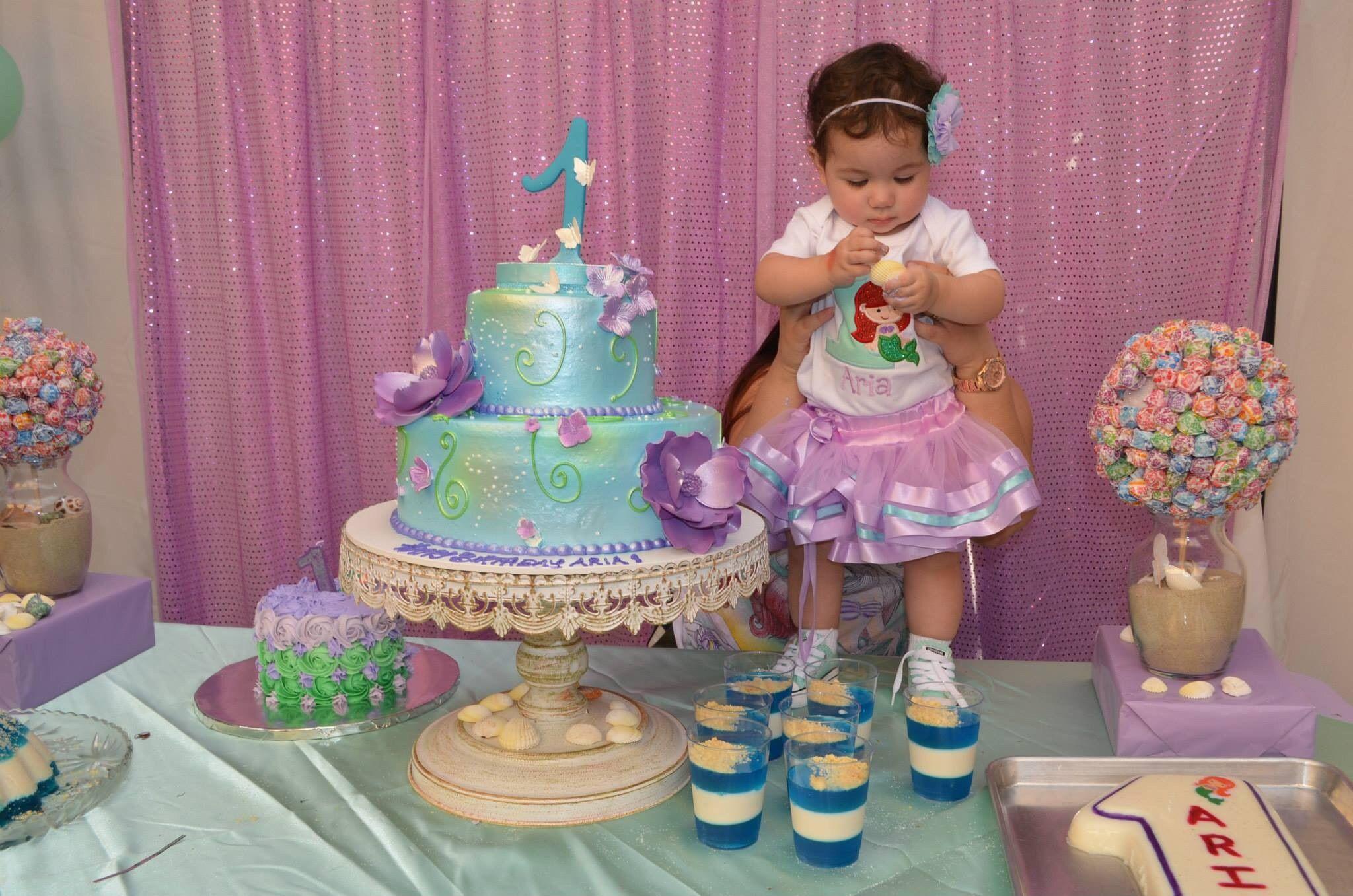 Bday girl Aria turning 1 9714 Mermaid theme 1st Birthday Party