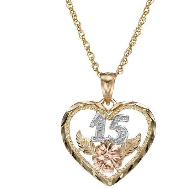 14k Gold Tri Tone 15 Quinceanera Heart Pendant Necklace Yellow Quinceanera Jewelry Quinceanera Necklace Quinceanera Accessories