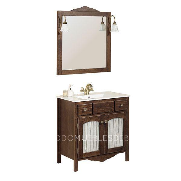 Mueble de 80cm color nogal rustico lavabo de cer mica - Apliques de luz rusticos ...