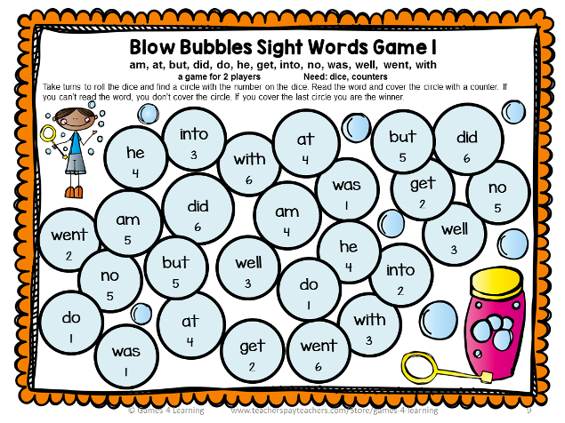 Dolch Sight Words Primer List Games for Centers or