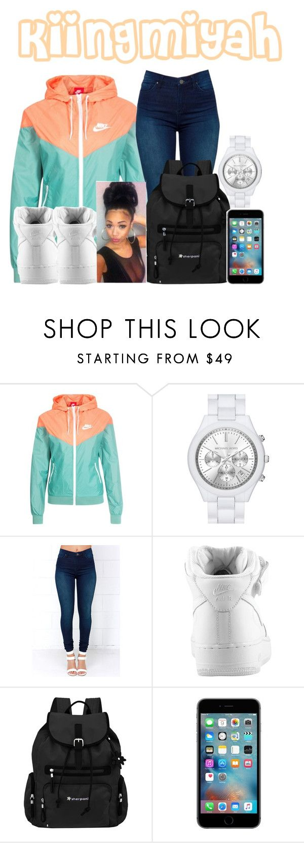 """hypnotized"" by kiingmiyah ❤ liked on Polyvore featuring NIKE, MICHAEL Michael Kors, BLANKNYC and Sherpani"
